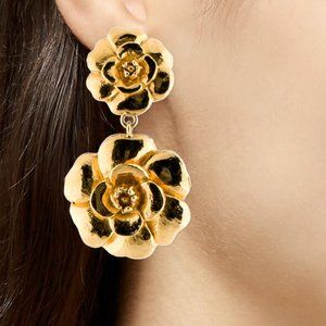 CHANEL Vintage large Gold Metal  Double  Camellia Drop Earrings
